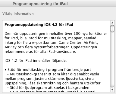 ipad programuppdatering 4.2