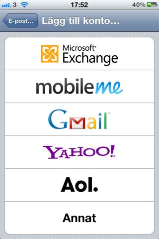 lägga till mailkonto iphone