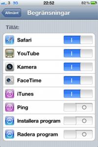 iphone begränsningar radera appar