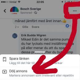 Dölj annons på facebook